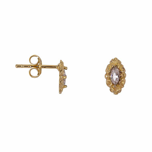 Betty Bogaers - Antique Drop Stud Earring Gold Plated White