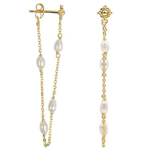 Betty Bogaers - Pearl Chain Stud Earring Gold Plated