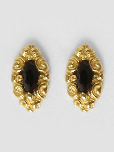Betty Bogaers - Stud Black Gold Plated