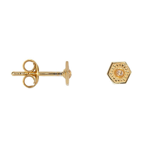 Betty Bogaers - Vintage Zirkonia Coin Stud Earring Gold Plated