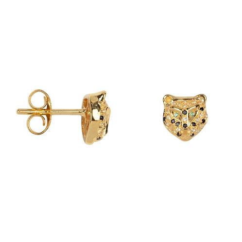 Betty Bogaers - Leopard Zirkonia Stud Earring Gold Plated (PER SINGLE PIECE)