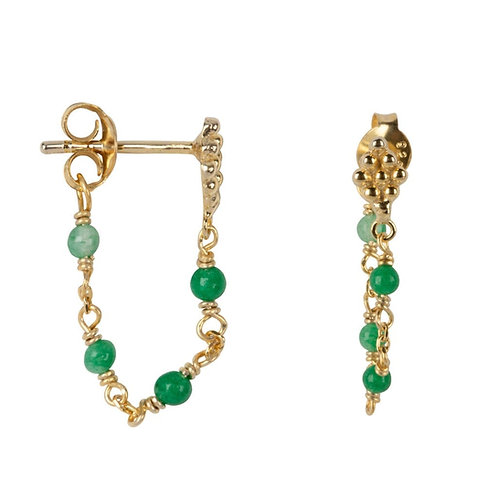 Betty Bogaers - Wieber Chain Green Stones Stud Earring Gold Plated