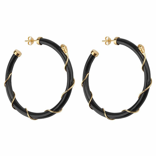 Betty Bogaers - Resin Snake Hoop Earring Gold Plated