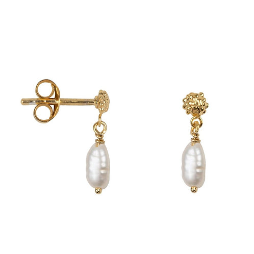 Betty Bogaers - Dotted Stud Pearl Stud Earring Gold Plated