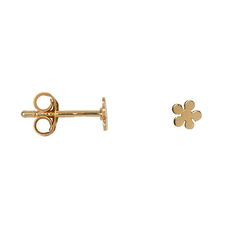 Betty Bogaers - Flat Bobble Flower Stud Earring Gold Plated