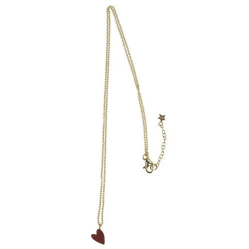 Betty Bogaers - Big Assymetric Red Heart Chain Necklace Gold Plated