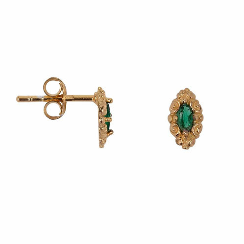 Betty Bogaers - Antique Drop Stud Earring Gold Plated Green