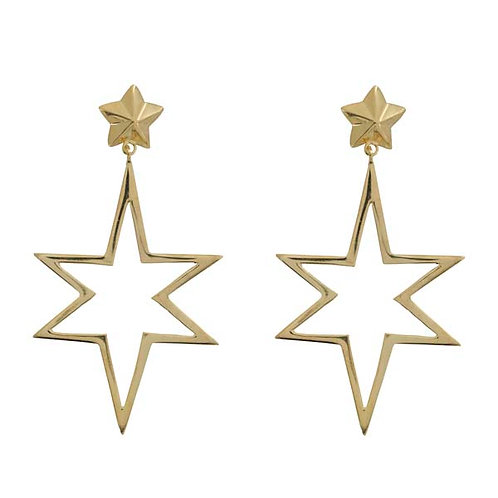Large Open Symmetric Statement Star Stud Earrings Gold Plated - Betty Bogaers