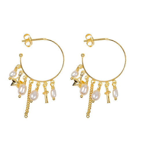 Hoop Dotted Beads and Pearls Earring Gold Plated - Betty Bogaers