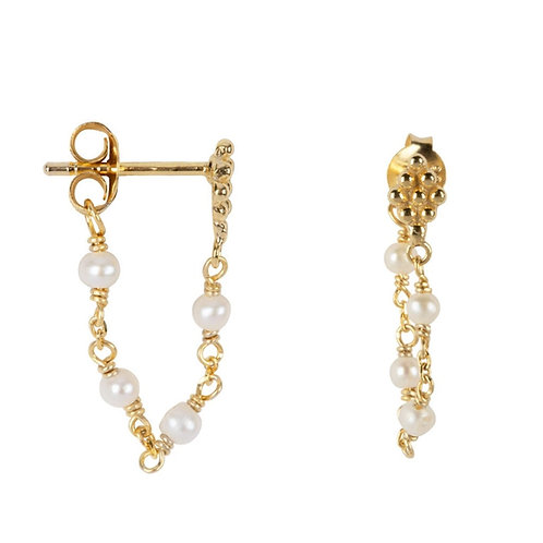 Betty Bogaers - Wieber Chain Stones Stud Earring Gold Plated