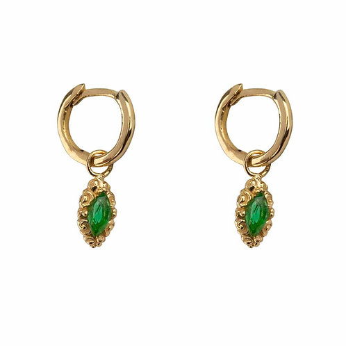 Betty Bogaers - Small Hoop Antique Drop Earring Gold Plated