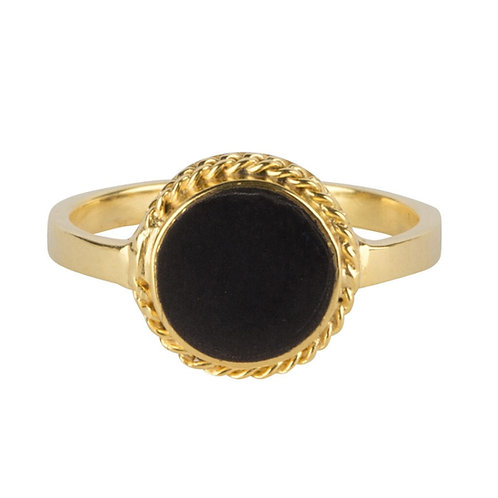 Black Round Chain Ring Gold Plated - Betty Bogaers