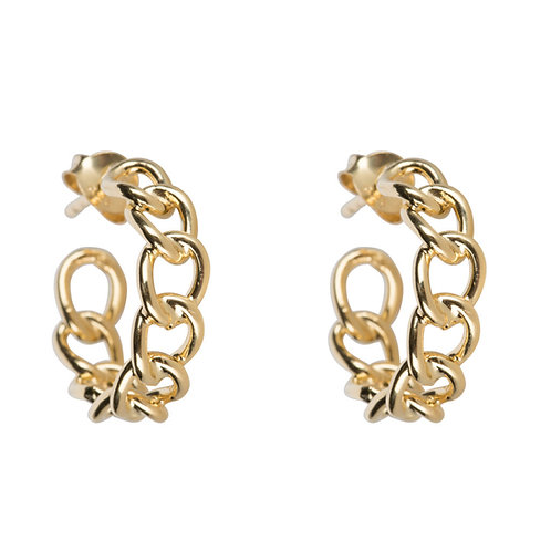 Betty Bogaers - Big Chain Hoop Earring Gold Plated