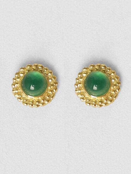 Betty Bogaers - Stud Green Gold Plated