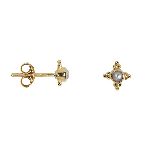 Betty Bogaers - Antique Four Sides Dotted Pearl Stud Earring Gold Plated