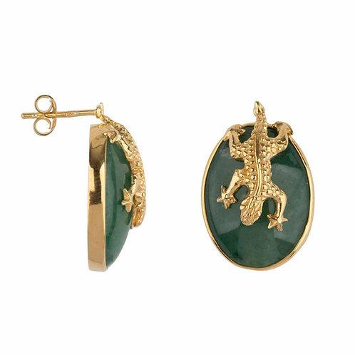 Betty Bogaers - Lizard Stud Green Aventurin Earring Gold Plated