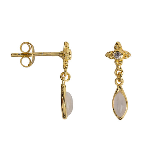 Betty Bogaers - Antique Dotted Moonstone with Drop Stud Earring Gold Plated