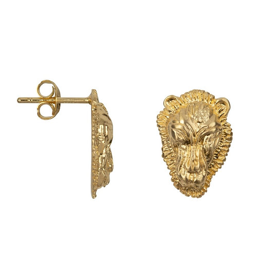 Betty Bogaers - Lion Head Small Stud Earring Gold Plated