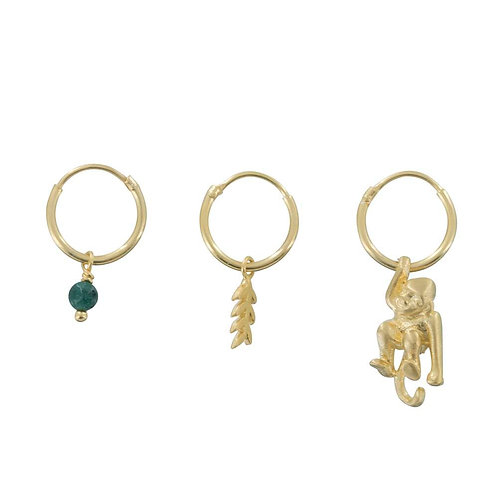 Small Hoop Leaf, Green Stone and Monkey Earring Gold Plated - Betty Bogaers