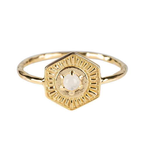 Betty Bogaers - Vintage Coin Moonstone Ring Gold Plated