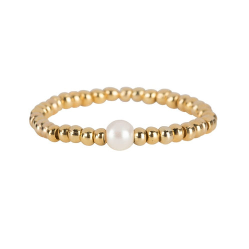 Betty Bogaers - Beads One Pearl Ring Gold Plated