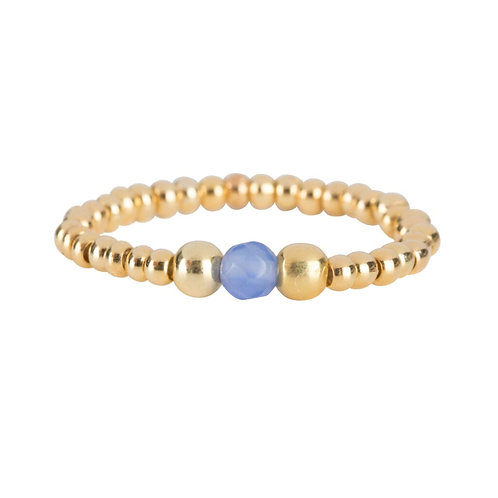 Beads One Blue Calcedone and Two Big Beads Ring Gold Plated - Betty Bogaers