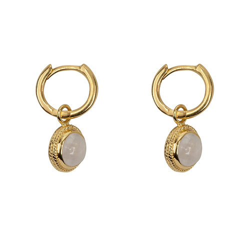 Betty Bogaers - Moonstone Vintage Setting Small Hoop Earring Gold Plated