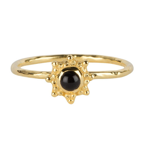 Antique Dotted Octagon Black Onyx Ring Gold Plated - Betty Bogaers