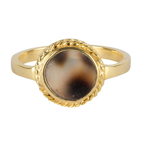 Betty Bogaers - Tiger Shell Round Chain Ring Gold Plated
