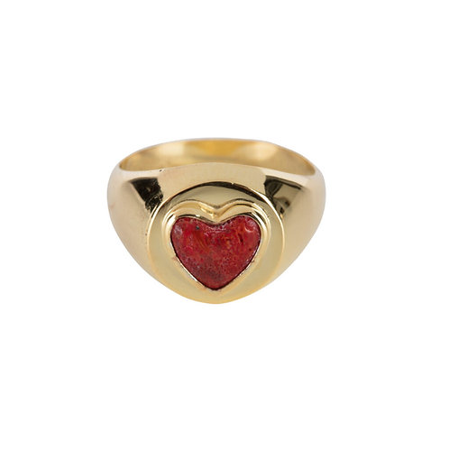 Betty Bogaers - Red Heart Ring Gold Plated