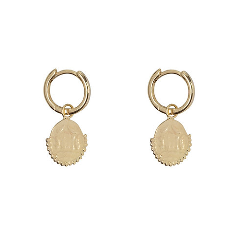 Betty Bogaers - Old Coin Small Hoop Earring Gold Plated