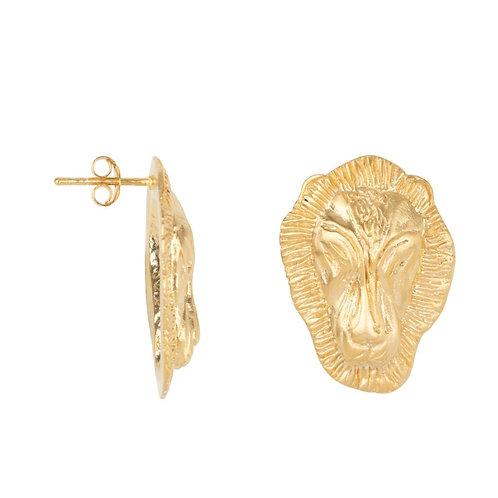Betty Bogaers - Lion Head Big Stud Earring Gold Plated