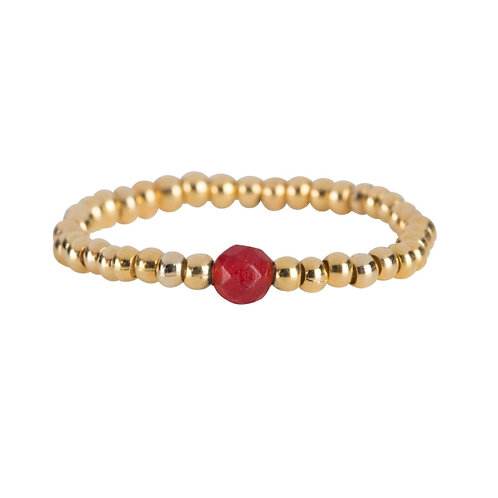 Beads One Red Agate Ring Gold Plated - Betty Bogaers
