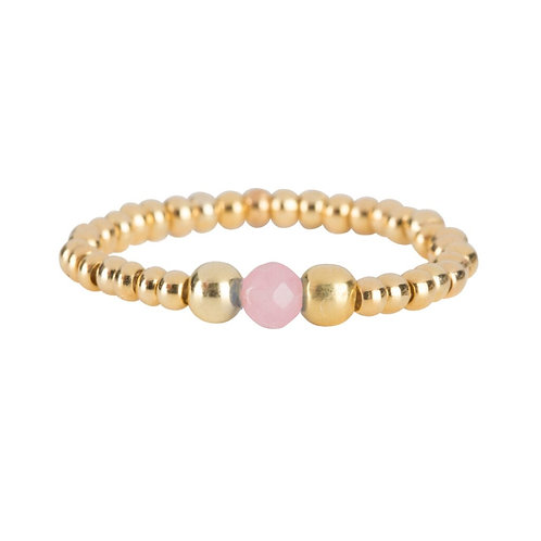 Beads One Rosequartz and Two Big Beads Ring - Betty Bogaers