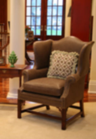 Wing Chair in Family Room.