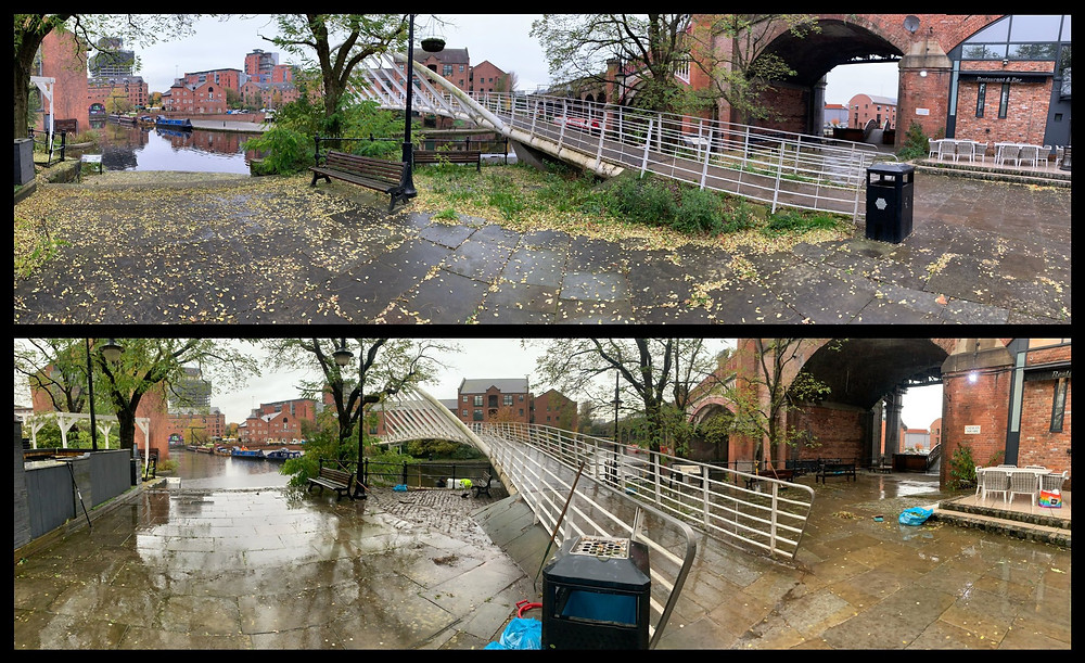 Before and after photos at Merchants' Bridge
