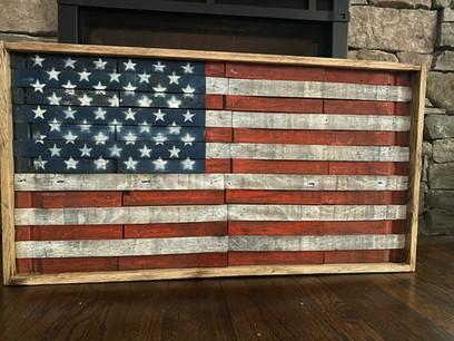 Old Glory Rustic Barrel Flag