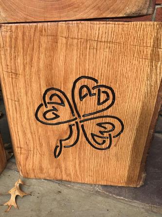 Celtic shamrock on garden stump