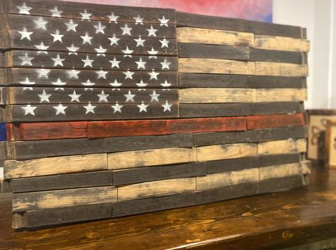 Whiskey Barrel Flag - Thin Red Line
