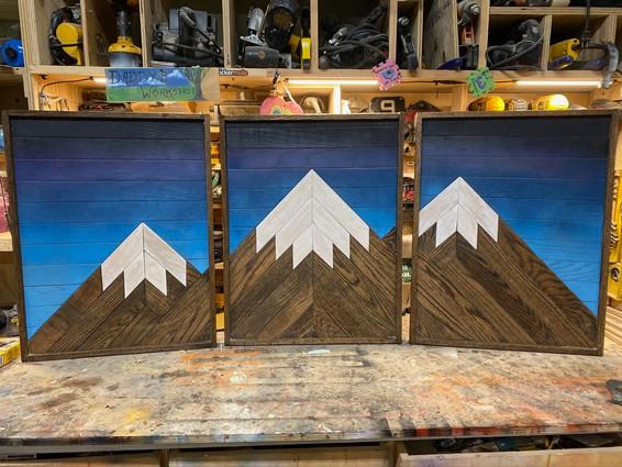 Mountain Triptych in Workshop