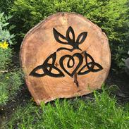 Celtic Claddagh on Garden Stump