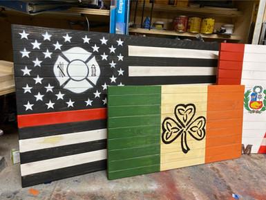 FDNY Thin Red Line Flag & Shamrock Flag
