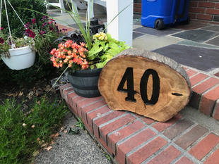 House Number on Wood Round