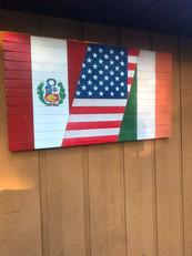 Tri-National Flag - Peruvian, American, Irish