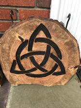 Celtic Trinity on Wood Round