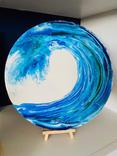 Acrylic Wave on Round Wood