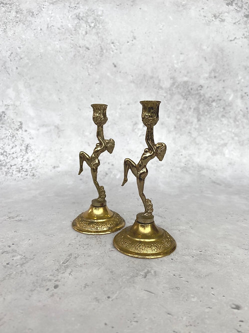 Vintage Pair of Mini Candle Stick Holders
