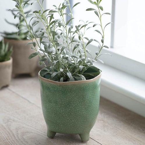 Green Ceramic Pot with Legs