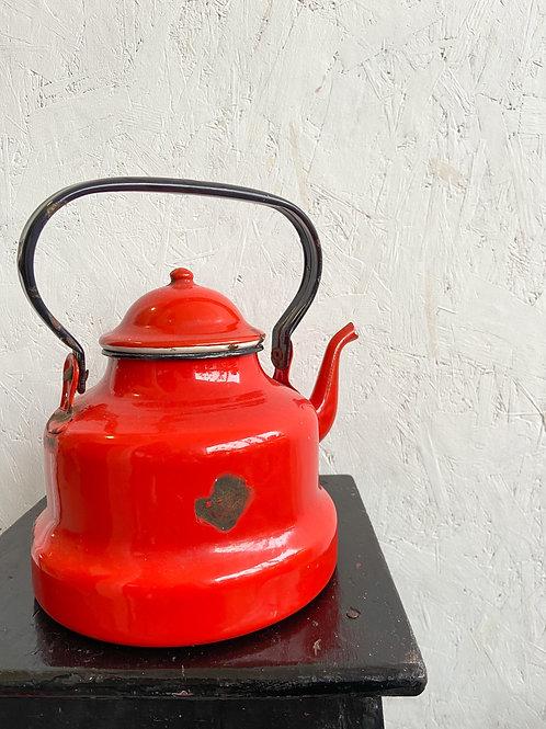Vintage Red Enamel Kettle