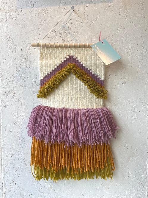 Khaki & Mauve Wall Hanging by Warp Weft Weave